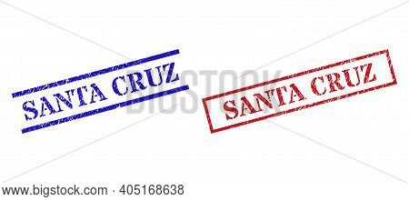 Grunge Santa Cruz Rubber Stamps In Red And Blue Colors. Stamps Have Distress Style. Vector Rubber Im