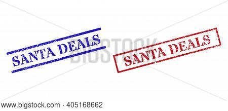Grunge Santa Deals Rubber Stamps In Red And Blue Colors. Stamps Have Rubber Surface. Vector Rubber I