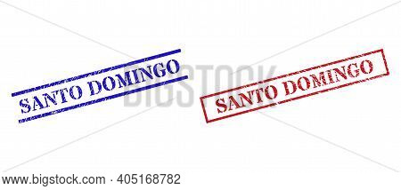 Grunge Santo Domingo Stamp Seals In Red And Blue Colors. Seals Have Draft Style. Vector Rubber Imita