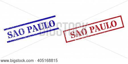Grunge Sao Paulo Rubber Stamps In Red And Blue Colors. Stamps Have Rubber Style. Vector Rubber Imita