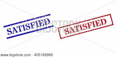 Grunge Satisfied Rubber Stamps In Red And Blue Colors. Stamps Have Rubber Surface. Vector Rubber Imi