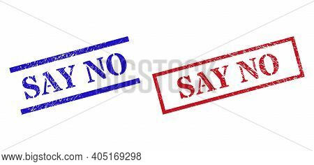 Grunge Say No Rubber Stamps In Red And Blue Colors. Stamps Have Rubber Surface. Vector Rubber Imitat