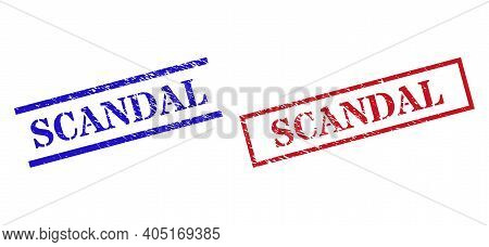 Grunge Scandal Rubber Stamps In Red And Blue Colors. Stamps Have Rubber Texture. Vector Rubber Imita