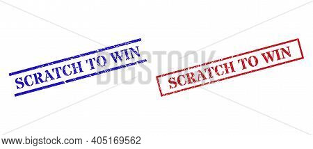 Grunge Scratch To Win Seal Stamps In Red And Blue Colors. Stamps Have Draft Style. Vector Rubber Imi