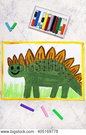 Photo Of Colorful Drawing: Smiling Dinosaur. Green Weird Stegosaurus.