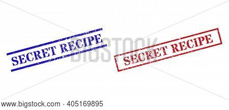 Grunge Secret Recipe Rubber Stamps In Red And Blue Colors. Stamps Have Rubber Surface. Vector Rubber