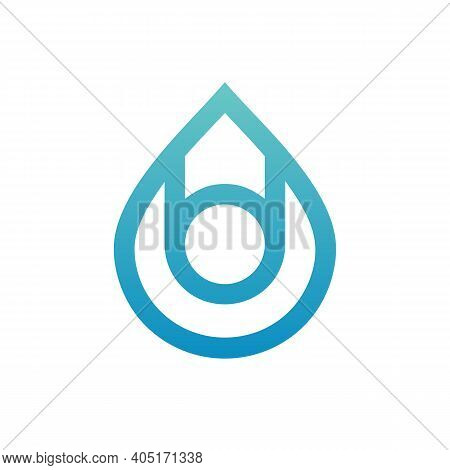 Vector Water Drop Logo Template, Droplets Icon Design, Line Art Style Illustration, Abstract Water D
