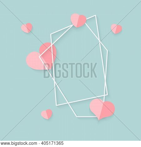 Closeup Of Abstract Polygonal Geometric White Frame With Pink Hearts. Template Empty Text Banner For