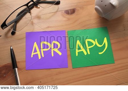 Apr Apy Annual Percentage Rate Yield, Text Words Typography Written On Paper Against Wooden Backgrou
