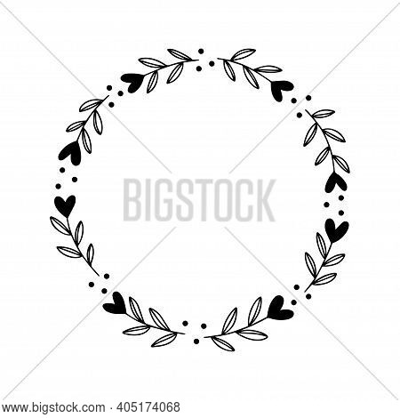 Floral Wreath With Leaves And Heart. Valentines Day Greeting Cards Template. Vector Romantic Round F
