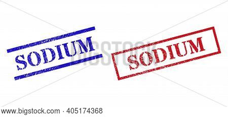 Grunge Sodium Seal Stamps In Red And Blue Colors. Stamps Have Rubber Surface. Vector Rubber Imitatio