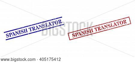 Grunge Spanish Translator Stamp Watermarks In Red And Blue Colors. Seals Have Rubber Texture. Vector