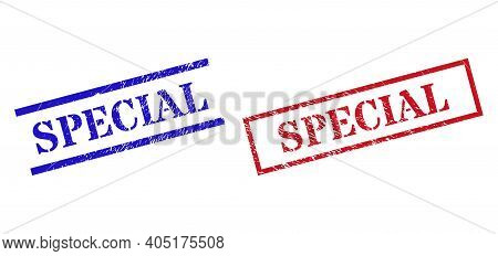 Grunge Special Rubber Stamps In Red And Blue Colors. Stamps Have Draft Surface. Vector Rubber Imitat