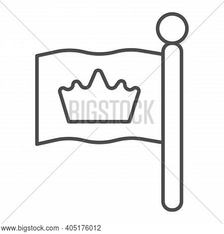 King Flag Thin Line Icon, Fairytale Concept, Monarch Heraldic Emblem Sign On White Background, Flag