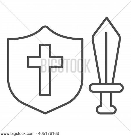 Medieval Sword And Shield Thin Line Icon, Fairytale Concept, Medieval Weapon Sign On White Backgroun