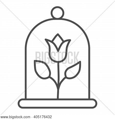 Rose Under A Glass Dome Thin Line Icon, Fairytale Concept, Magic Flower Sign On White Background, Fa