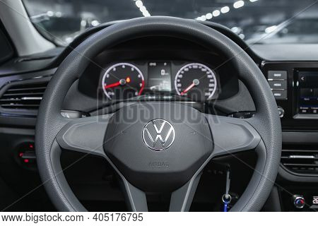 Novosibirsk, Russia - January 14 2021: Volkswagen Polo, Close-up Of The Dashboard, Speedometer, Tach