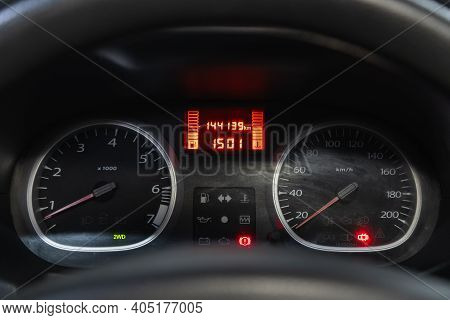 Novosibirsk, Russia - January 14 2021: Renault Duster, Round Speedometer, Odometer With A Range Of 1