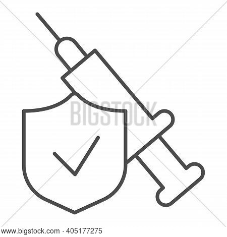 Syringe Injection With Shield Thin Line Icon, Injections Concept, Emblem Checked And Syringe Sign On
