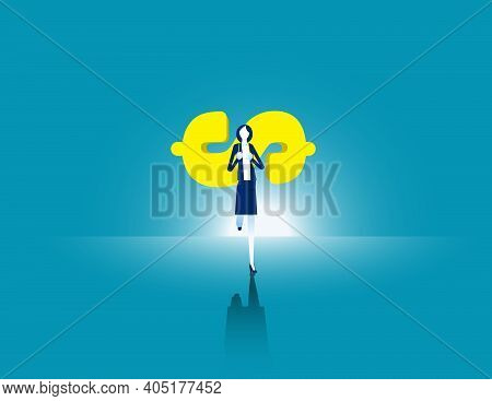 Businesswoman Carrying Money To Move Forward. Business Finance Effort