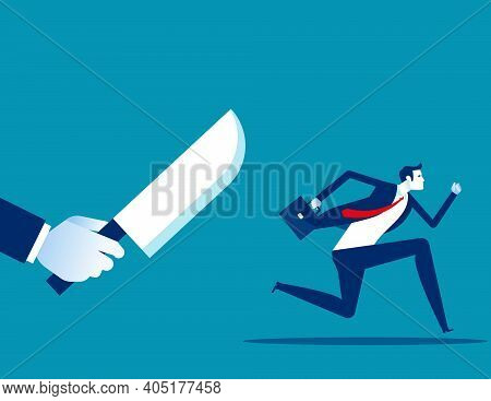Businessman Being Chased By A Knife. Danger