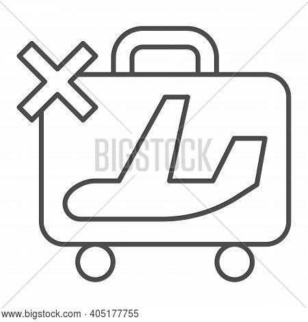 Ban Sign With Baggage And Airplane Thin Line Icon, Corona Downturn Concept, Prohibition Of Flights S