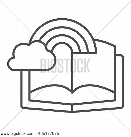 Book With Rainbow And Cloud Thin Line Icon, Fairytale Concept, Book With Fairy Tale Sign On White Ba