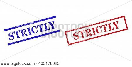 Grunge Strictly Stamp Seals In Red And Blue Colors. Seals Have Rubber Style. Vector Rubber Imitation