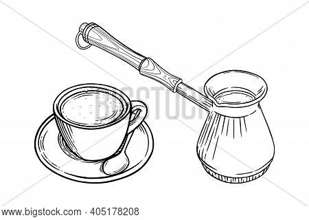 Coffee Cup With Cappuccino And Turkish Pot. Engraved Sketch Set Of Coffee Mug And Pot. Black And Whi