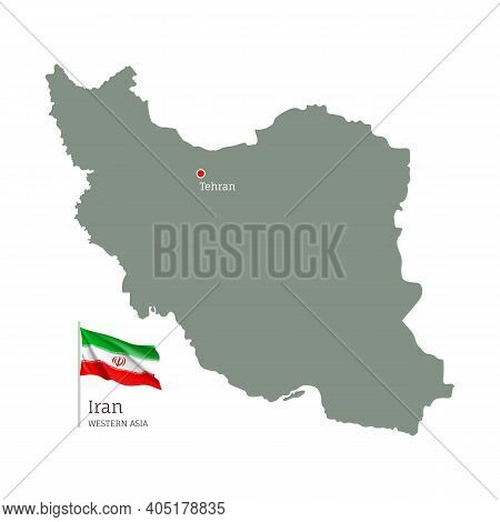 Silhouette Of Iran Country Map. Highly Detailed Editable Map Of Iran With National Flag And Tehran C