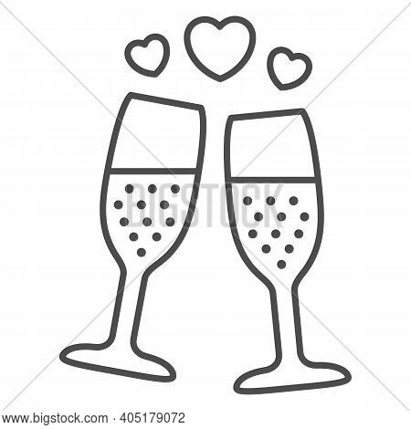 Champagne In Glass With Hearts Thin Line Icon, Valentines Day Concept, Two Glasses Of Sparkling Cham