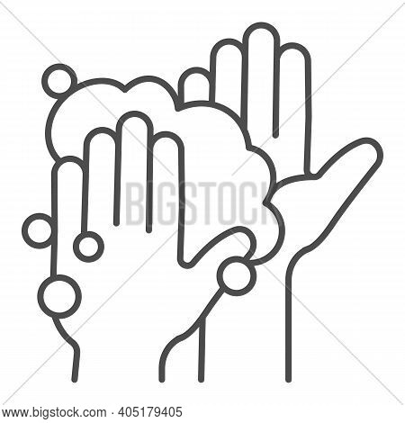 Hands In Soapy Foam Thin Line Icon, Corona Downturn Concept, Hand Wash Sign On White Background, Hyg