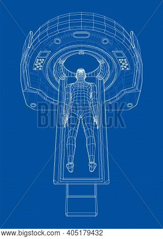 Mri, Magnetic Resonance Imaging Machine Scanning Patient Inside. Wire-frame Style. Vector 3d Renderi