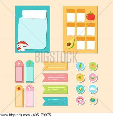 Design Illustration Collection Of Paper Notes, Memo Stickers And Cute Labels To Write Plans Or Daily