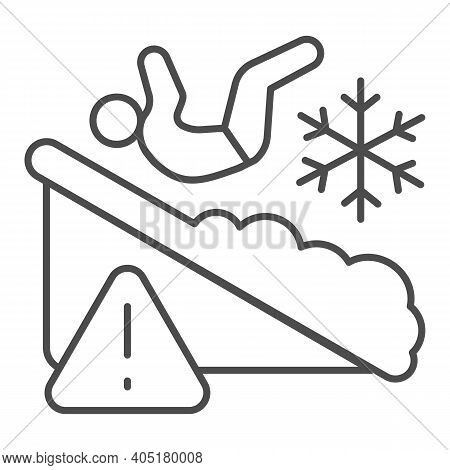 Man Falls On Ice Thin Line Icon, Winter Season Concept, Slippery Ice Sign On White Background, Falle