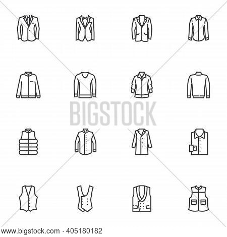 Men Clothing Line Icons Set, Outline Vector Symbol Collection, Linear Style Pictogram Pack. Signs, L