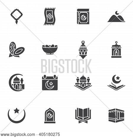 Ramadan Kareem Vector Icons Set, Modern Solid Symbol Collection, Filled Style Pictogram Pack. Signs