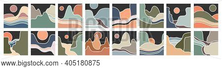 Abstract Landscape Icons. Mountains, River, Sea View. Hills, Sun, Moon. For Social Media And Stories