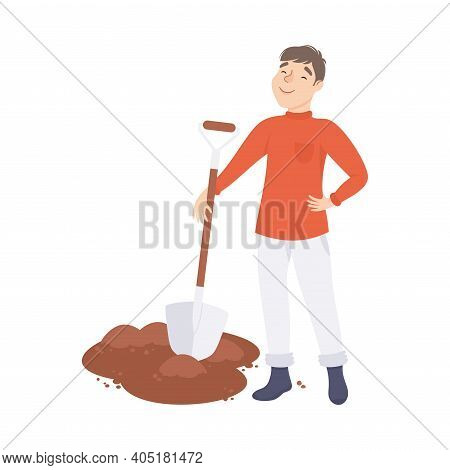 Young Man Farmer Or Agricultural Worker Digging Ground With Shovel Vector Illustration