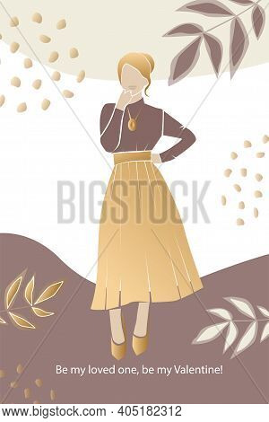 Vector Valentine's Day Trendy Card, Story Or Poster, Abstract  Female Shapes And Silhouette In Gold