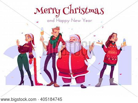 Merry Christmas And Happy New Year Party Celebration. Cheerful People, Friends Wearing Knit Sweaters