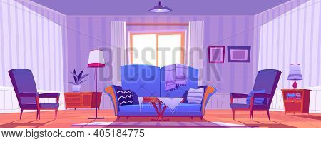 Living Room Interior With Old Fashioned Furniture And Decor. Sofa With Pillows, Coffee Table And Arm