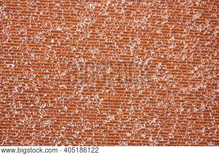 Woven Material Sprinkled With Snow Grains, Fabric Texture, Snow Background, Winter