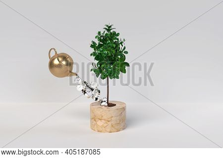 Investing Time To Grow Money In White Background 3d Render