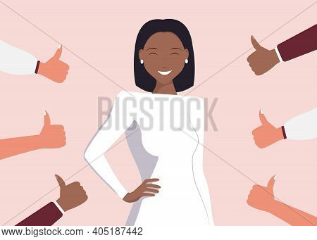 Cheerful Young Black Woman Is Surrounded By Hands With Thumbs Down. The Concept Of Public Disapprova