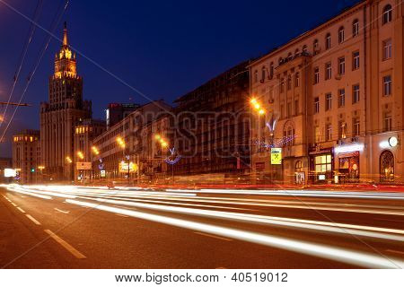View Of The Garden Ring And Red Gates Square Building In Moscow At Night