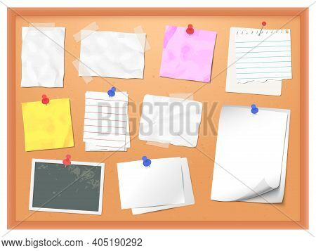 Cork Board With Pinned Notes. Vector Pin Memo For Office Note, Corkboard To Reminder Post Message Il