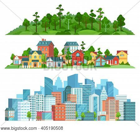 Nature, Suburban Landscape And Cityscape Isolated Illustration Set. Vector Cityscape Urban Town, Sub