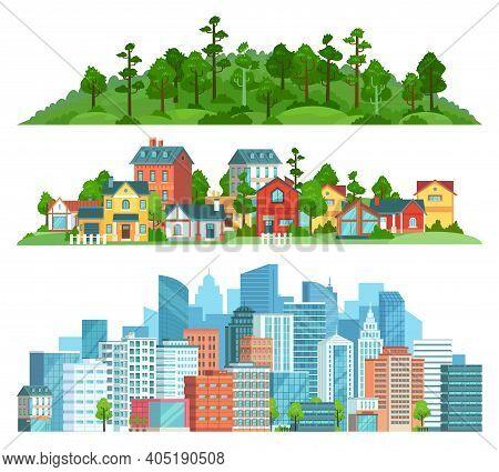 Nature, Suburban Landscape And Cityscape Isolated Illustration Set. Vector Cityscape Urban Town, Sub