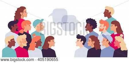 Two Grouple Of People Talking With Speech Bubbles. Vector Communication People Speech, Conversation